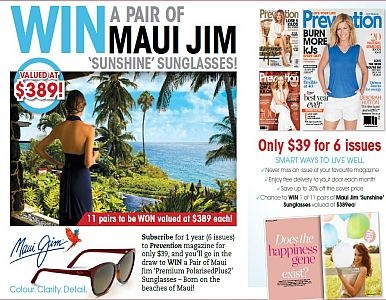 SUBSCRIBE FOR A CHANCE TO WIN A PAIR OF MAUI JIM SUNGLASSES!
