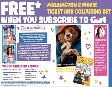 SUBSCRIBE NOW & GET A FREE PADDINGTON2  MOVIE TICKET & COLOURING SET