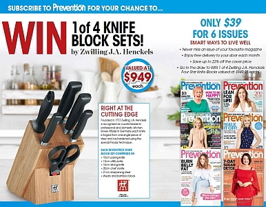 SUBSCRIBE NOW FOR YOUR CHANCE TO WIN A ZWILLING 4 STAR KNIFE BLOCKS!