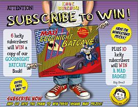 Subscribe NOW & you could WIN a copy of GOODNIGHT BATCAVE Book!