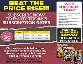 BEAT THE PRICE RISE!  SUBSCRIBE TO ENJOY TODAY'S SUBSCRIPTION RATES